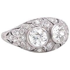 Art Deco Diamond Two Stone Bombe Platinum Ring