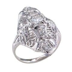 Art Deco Diamond White Gold Dinner Ring