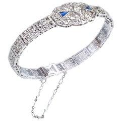 Art Deco Diamond White Gold Filigree Bracelet