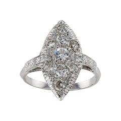 Art Deco Diamond White Gold Navette Shaped Dinner Ring