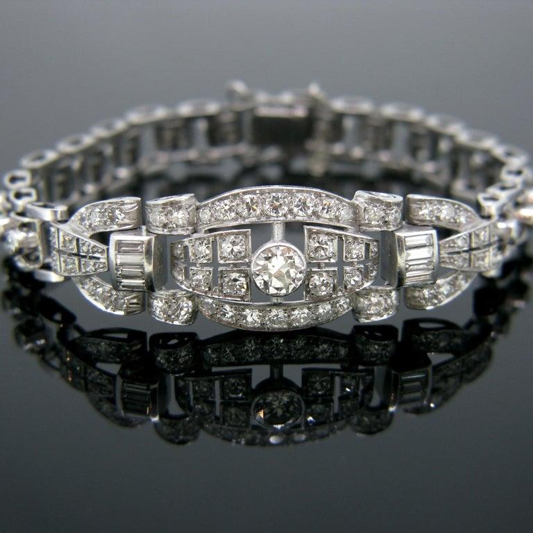 Old European Cut Art Deco Diamond White Gold Platinum Bracelet For Sale