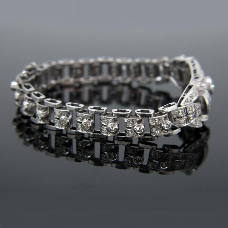 Art Deco Diamond White Gold Platinum Bracelet In Good Condition For Sale In London, GB