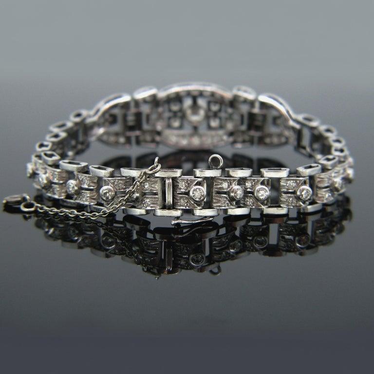 Women's or Men's Art Deco Diamond White Gold Platinum Bracelet For Sale