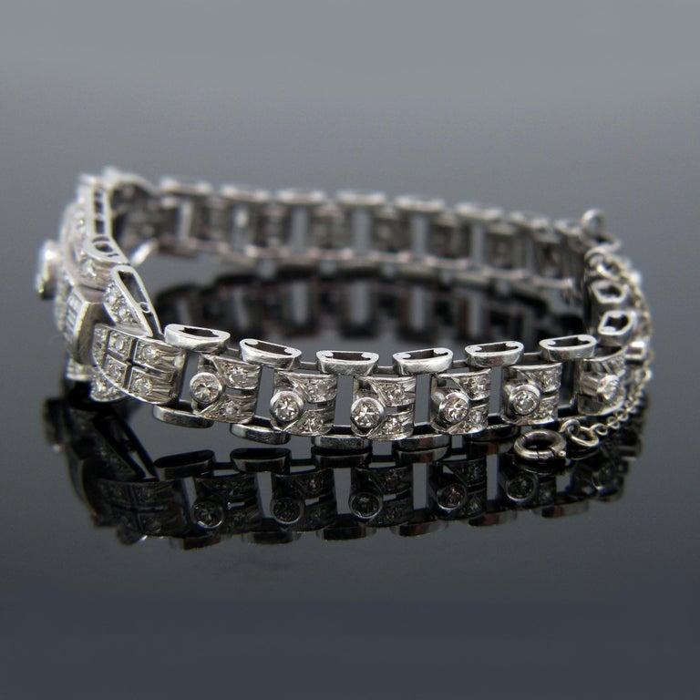 Art Deco Diamond White Gold Platinum Bracelet For Sale 1