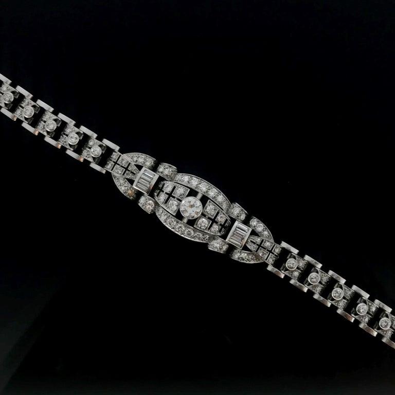 Art Deco Diamond White Gold Platinum Bracelet For Sale 3