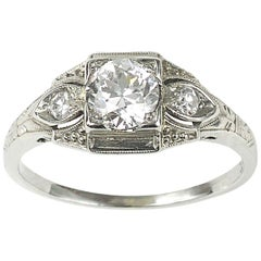 Art Deco Diamond White Gold Ring 0.62 Carat