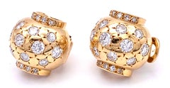 Art Deco Diamond Yellow Gold Bombé Clip on Earrings