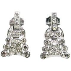Art Deco Diamonds Earrings Studs, 18 Karat Gold and Platinum, circa 1930, French