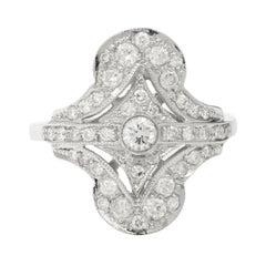 Art Deco Style Diamonds Pave 18k White Gold Ring