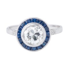 Art Deco Style Diamonds Sapphires Paving 18 Carat White Gold Solitaire Ring