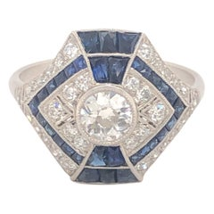 Art Deco Style Diamonds Sapphires Platinum Ring