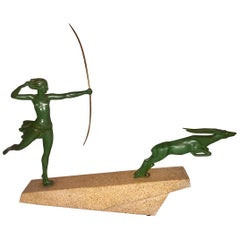 Art Deco Diana Huntress and Leaping Antelope by Le Verrier and Demarco Base
