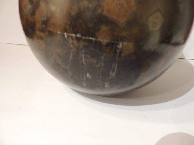Mid-20th Century Art Deco Dinanderie Metal Vase For Sale