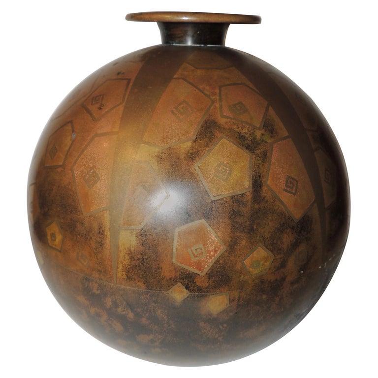 Art Deco Dinanderie Metal Vase For Sale