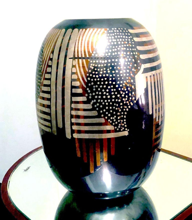 French Art Deco Dinanderie Vase For Sale