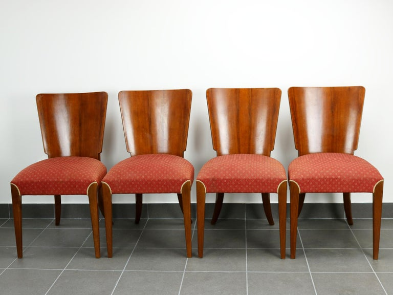 Czech Art Deco Dining Chairs H-214 by Jindrich Halabala, 1930s For Sale