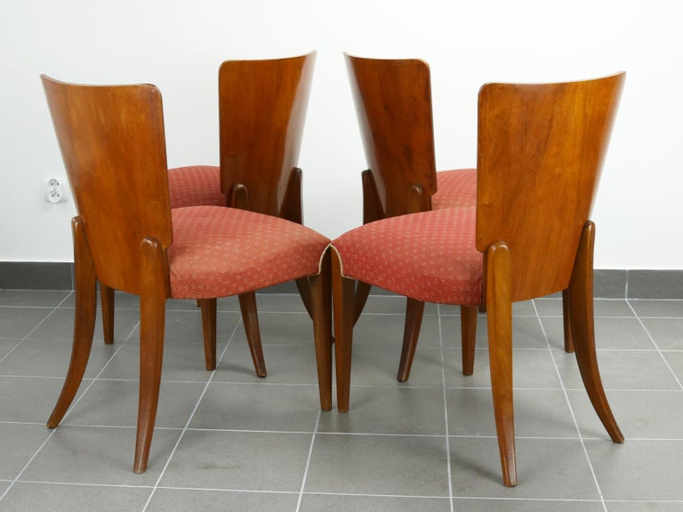 Veneer Art Deco Dining Chairs H-214 by Jindrich Halabala, 1930s For Sale