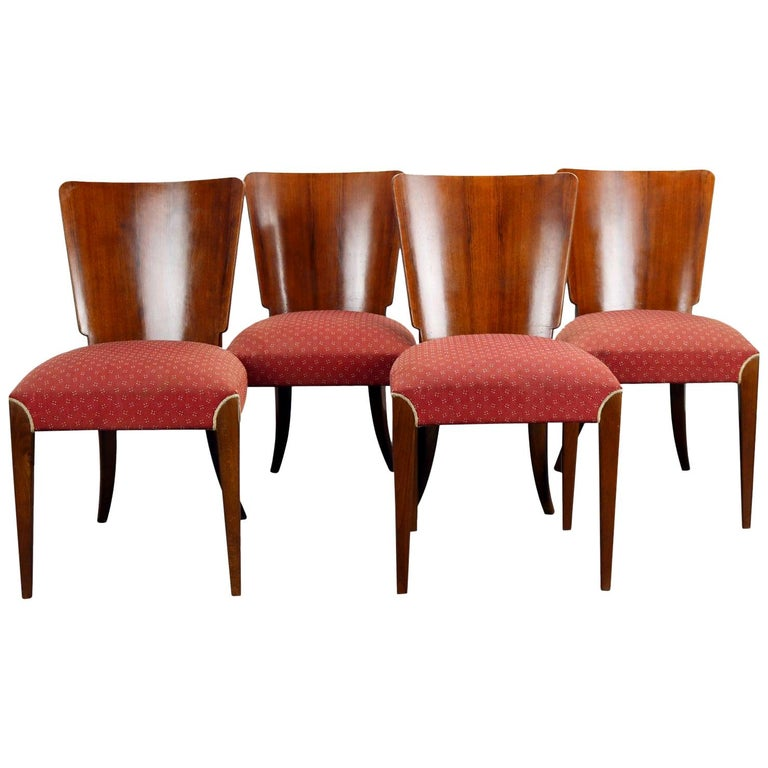 Art Deco Dining Chairs H-214 by Jindrich Halabala, 1930s For Sale