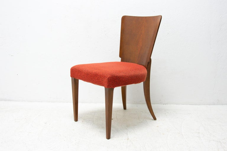 Art Deco Dining Chairs H-214 by Jindrich Halabala for ÚP Závody, 1950's For Sale 6