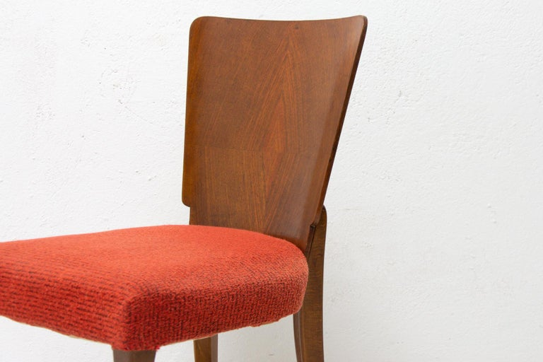 Art Deco Dining Chairs H-214 by Jindrich Halabala for ÚP Závody, 1950's For Sale 8