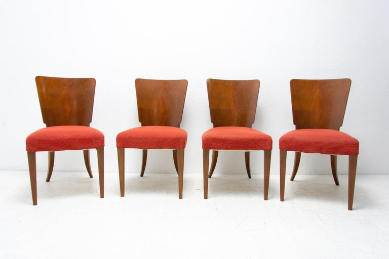 Czech Art Deco Dining Chairs H-214 by Jindrich Halabala for ÚP Závody, 1950's For Sale