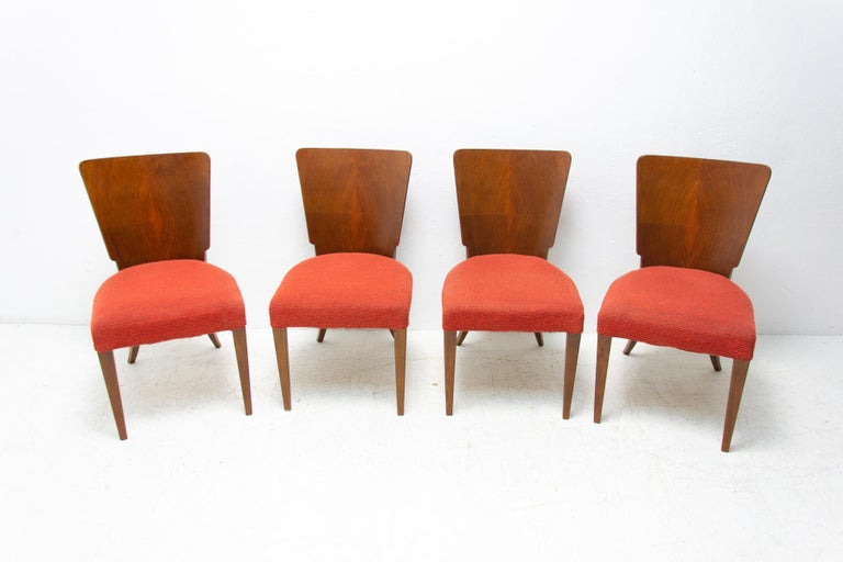 Veneer Art Deco Dining Chairs H-214 by Jindrich Halabala for ÚP Závody, 1950's For Sale
