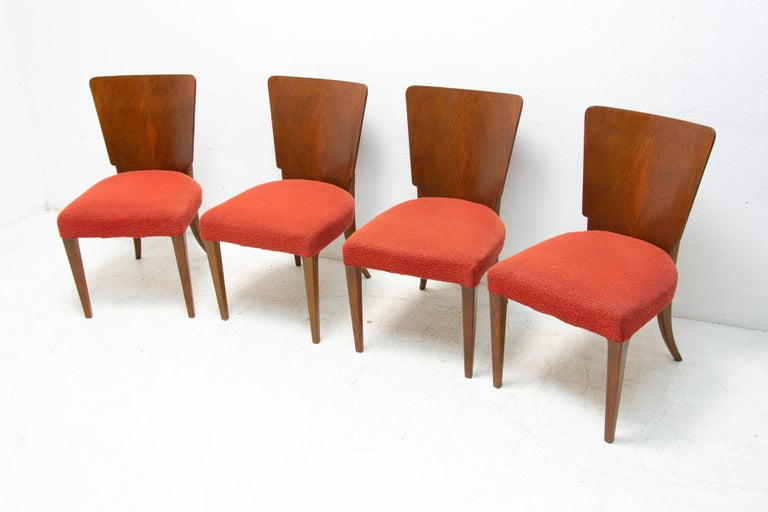 Art Deco Dining Chairs H-214 by Jindrich Halabala for ÚP Závody, 1950's In Good Condition For Sale In Prague 8, CZ
