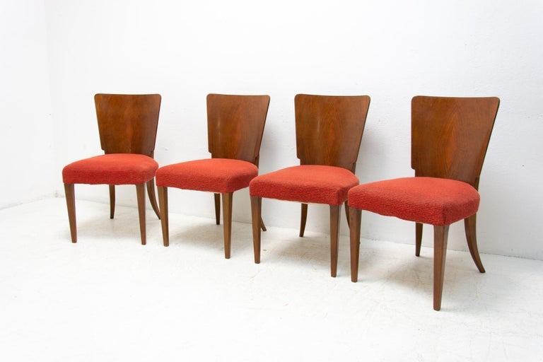 20th Century Art Deco Dining Chairs H-214 by Jindrich Halabala for ÚP Závody, 1950's For Sale
