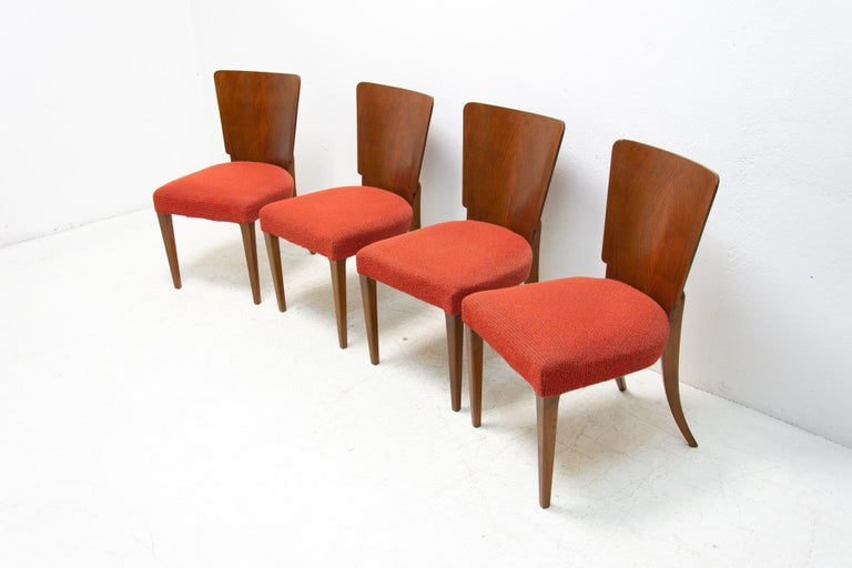 Fabric Art Deco Dining Chairs H-214 by Jindrich Halabala for ÚP Závody, 1950's For Sale