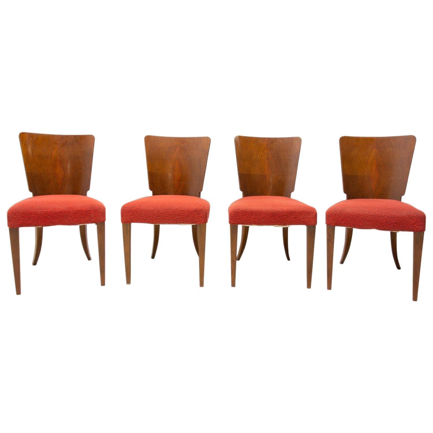 Art Deco Dining Chairs H-214 by Jindrich Halabala for ÚP Závody, 1950's