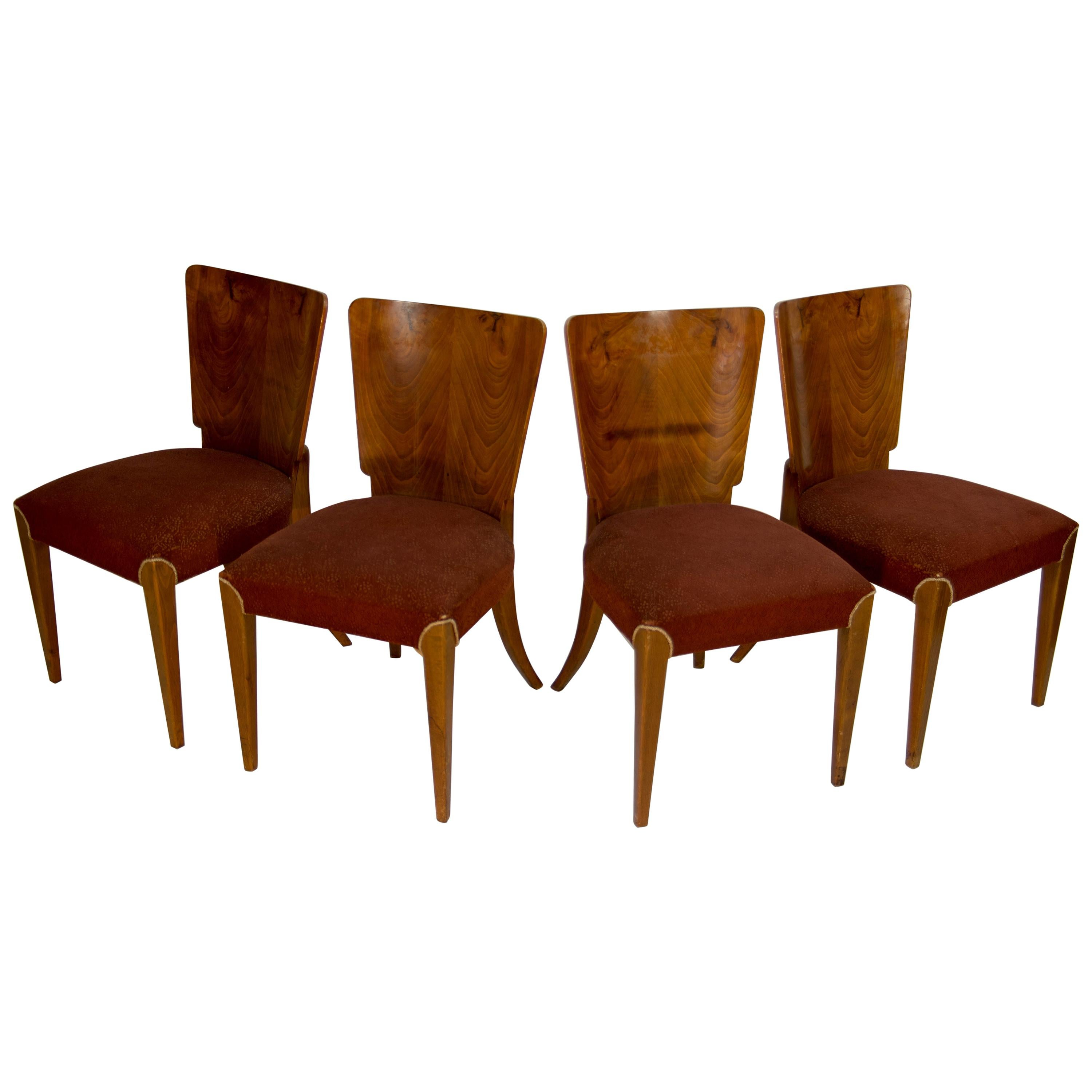 Art Deco Dining Chairs H-214 by Jindrich Halabala for UP Závody, Set of 4