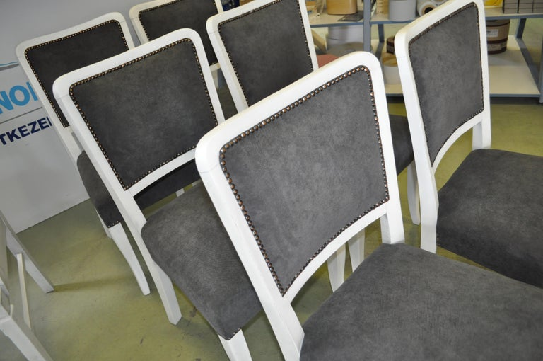 Painted Art Deco Dining Chairs, Set of 6 For Sale