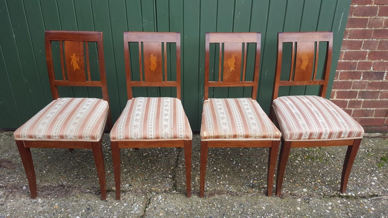 Polished Art Deco Dining Chairs Set of 6 Marquetry Dark Honey Swedish Early 20th Century