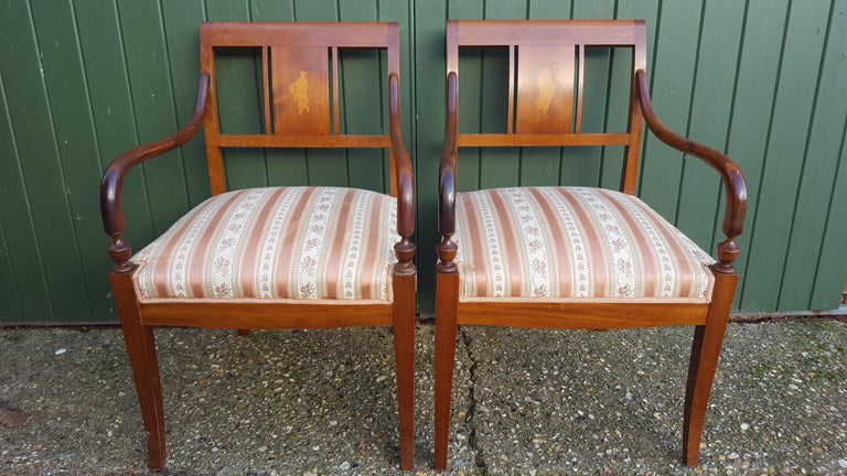 Art Deco Dining Chairs Set of 6 Marquetry Dark Honey Swedish Early 20th Century In Good Condition In LONDON, GB