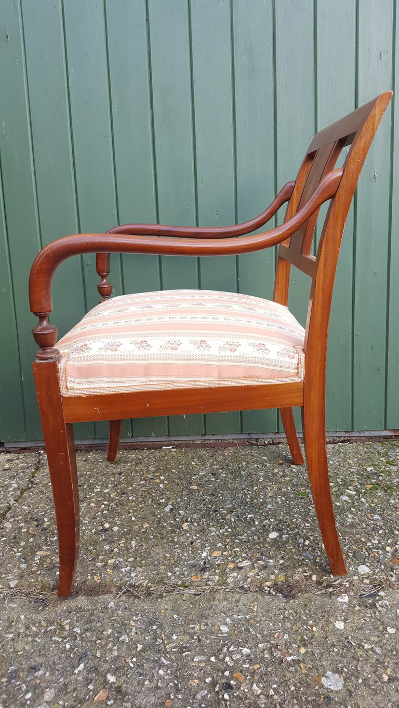 Birch Art Deco Dining Chairs Set of 6 Marquetry Dark Honey Swedish Early 20th Century