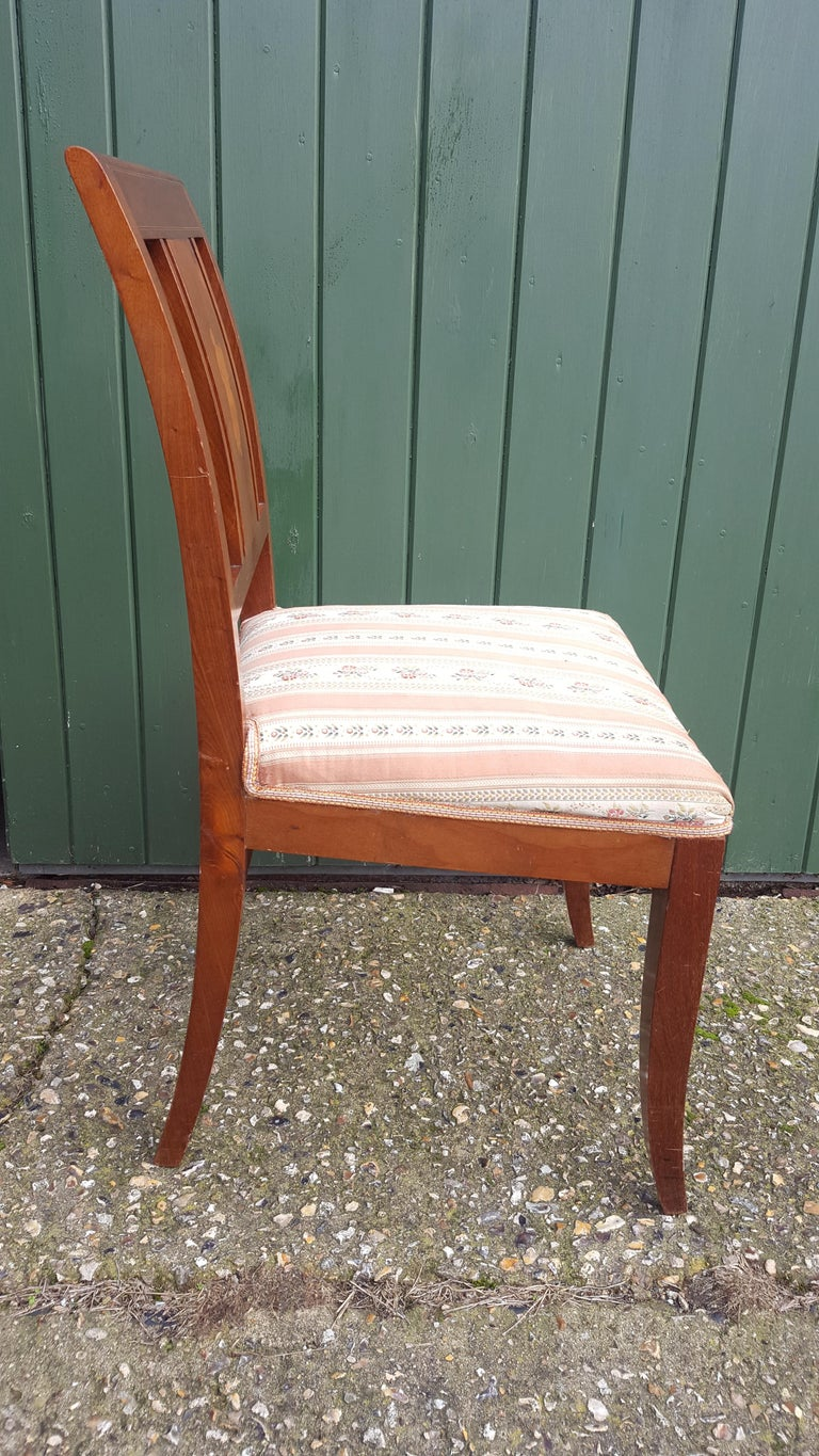 Art Deco Dining Chairs Set of 6 Marquetry Dark Honey Swedish Early 20th Century 1