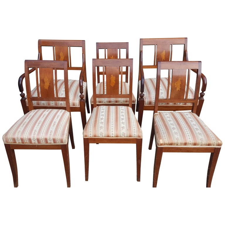 Art Deco Dining Chairs Set of 6 Marquetry Dark Honey Swedish Early 20th Century