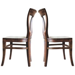 Art Deco Dining Chairs Solid Oak, Set of Four