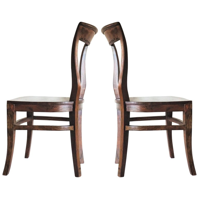 Art Deco Dining Chairs Solid Oak, Set of Four For Sale