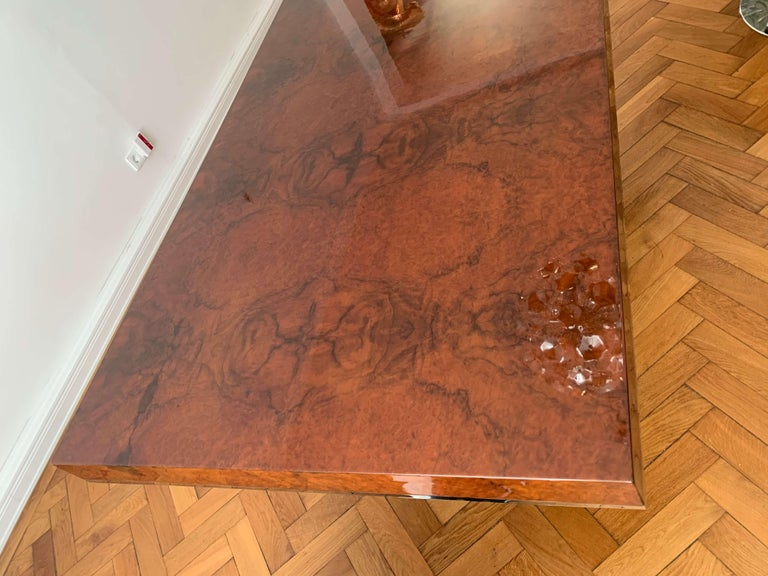 Art Deco Dining Room Table, Walnut Roots, Southern France, circa 1930 For Sale 8