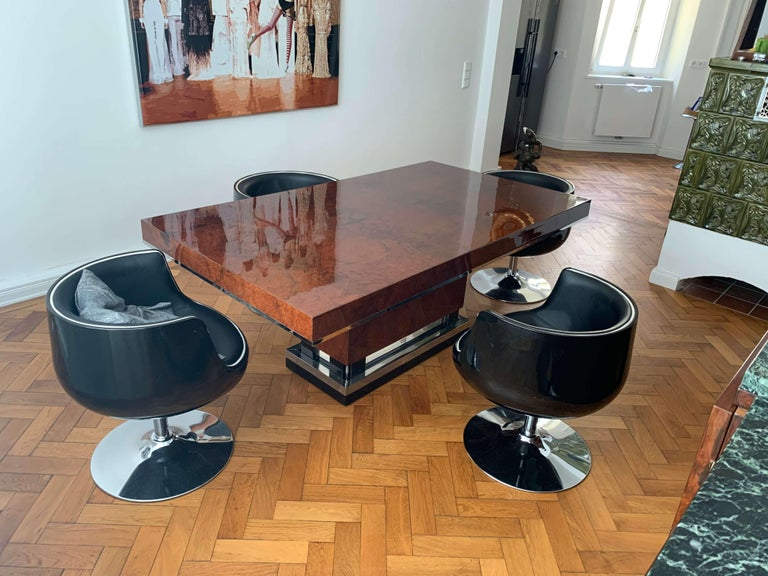 Art Deco Dining Room Table, Walnut Roots, Southern France, circa 1930 For Sale 12