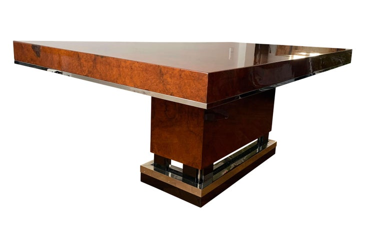 Galvanized Art Deco Dining Room Table, Walnut Roots, Southern France, circa 1930 For Sale