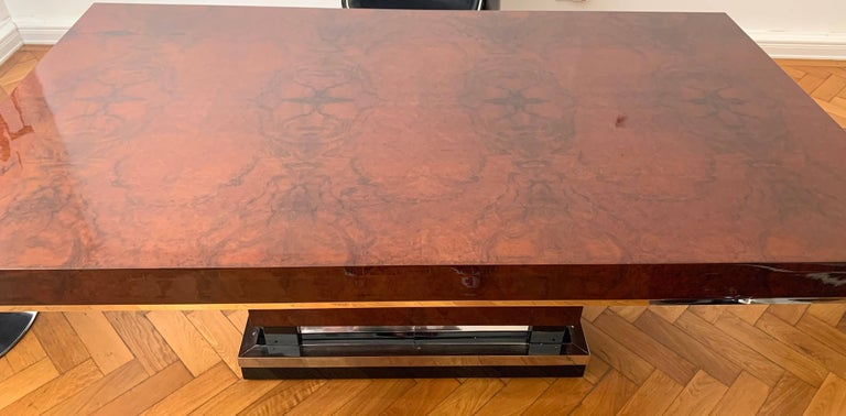 Chrome Art Deco Dining Room Table, Walnut Roots, Southern France, circa 1930 For Sale