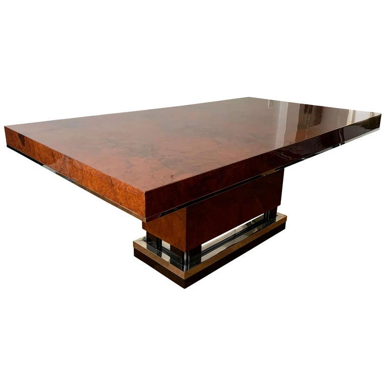 Art Deco Dining Room Table, Walnut Roots, Southern France, circa 1930 For Sale