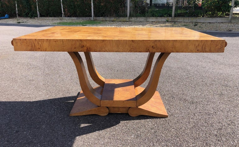 Art Deco Dining Set in Burl Wood For Sale 5
