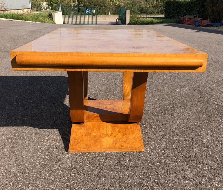 Art Deco Dining Set in Burl Wood For Sale 9