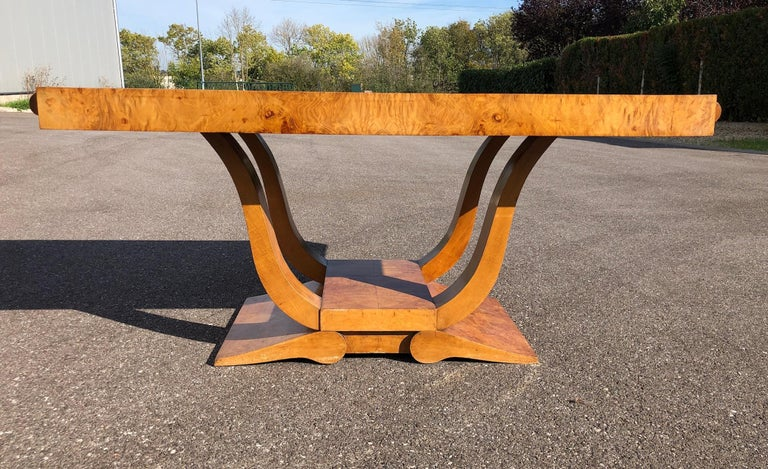 Art Deco Dining Set in Burl Wood For Sale 10