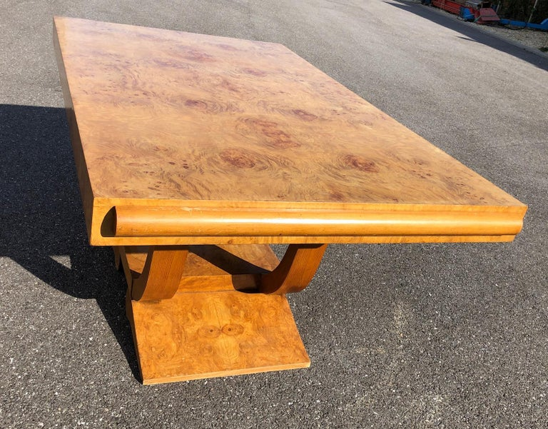 Art Deco Dining Set in Burl Wood For Sale 12