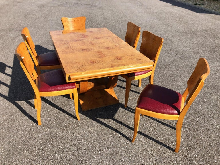 Art Deco Dining Set in Burl Wood For Sale 13