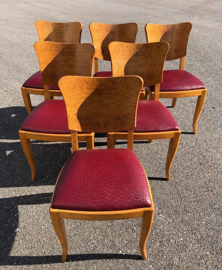 Art Deco Dining Set in Burl Wood For Sale 1